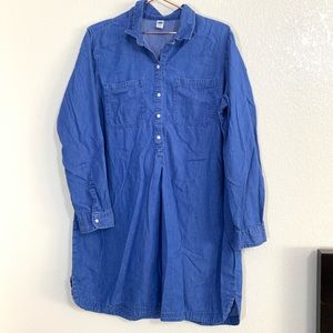 Old Navy | Blue Chambray Long Sleeve Dress - XL